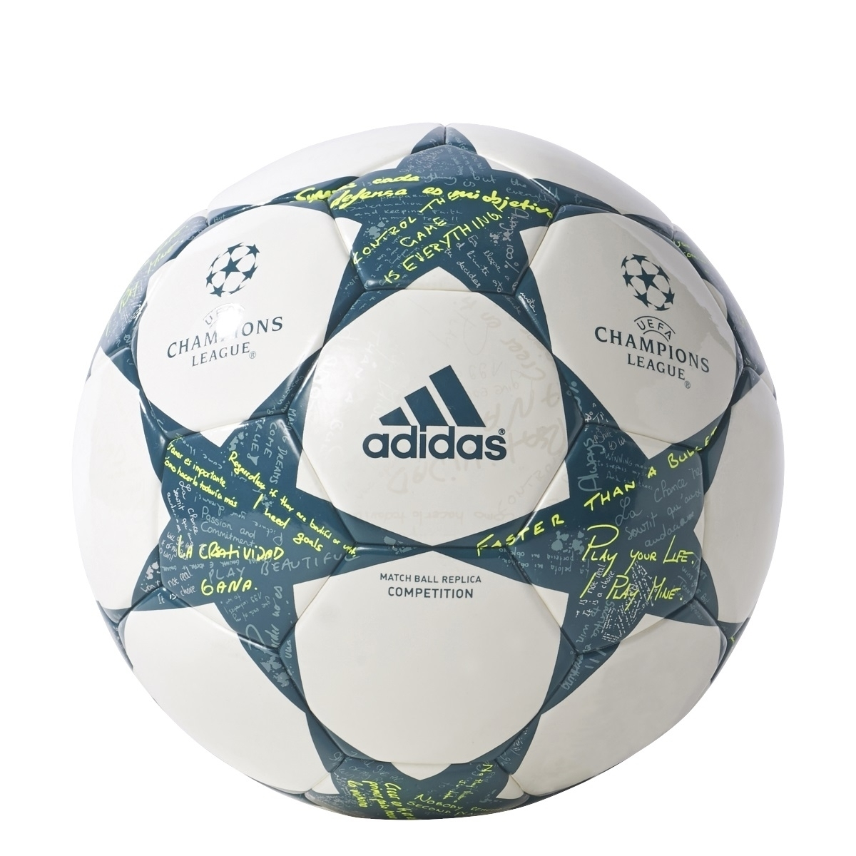 adidas UCL Finale 16 Competition Trainingsball weiss grün