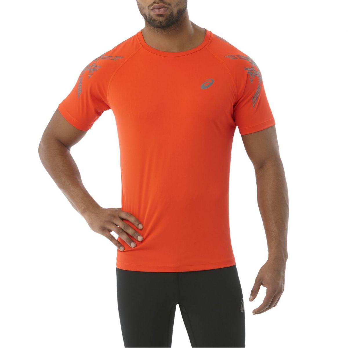 Asics Stripe Top SS Herren Laufshirt Running orange
