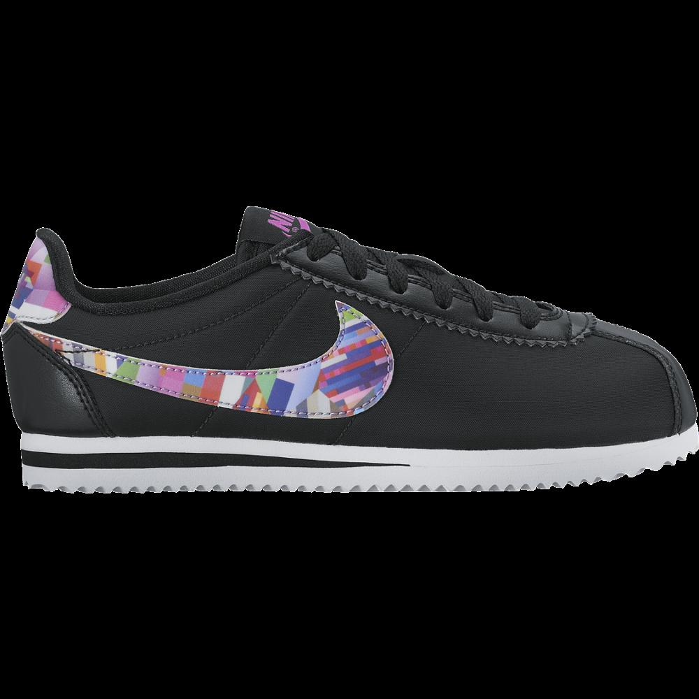 Nike Cortez Nylon Print GS Kinder Sneaker Mädchen schwarz