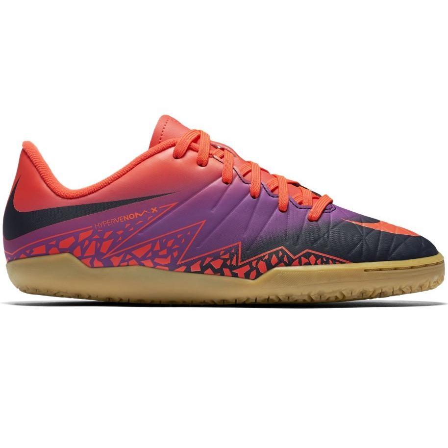 Nike HyperVenom Phelon II IC Kinder Fußball Hallenschuhe Indoor orange/lila