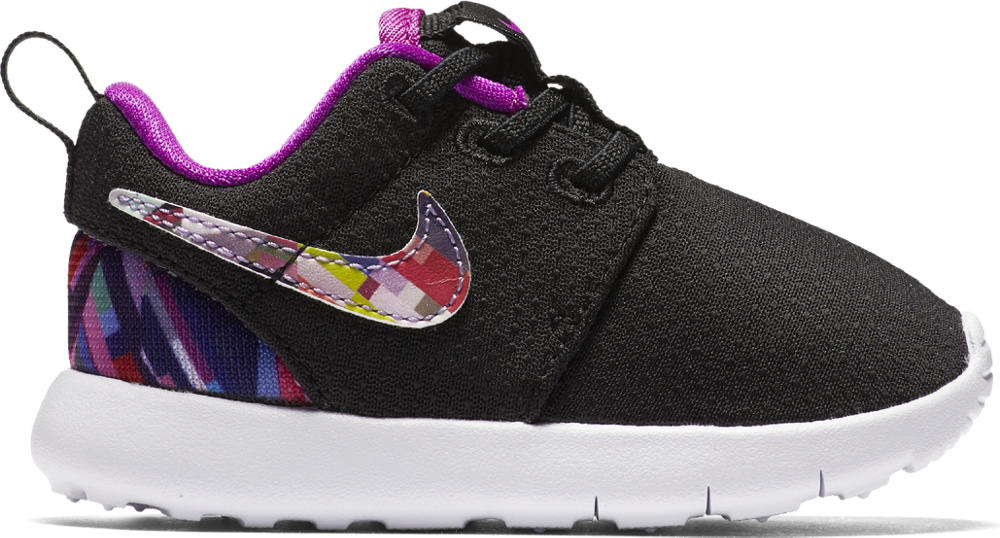 Nike Roshe One Print TDV Sneaker Kleinkinder Schuhe schwarz lila