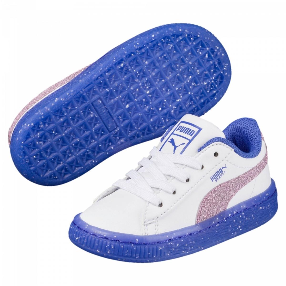 Puma Basket Iced Glitter 2 Sneaker Kleinkinderschuhe weiß blau