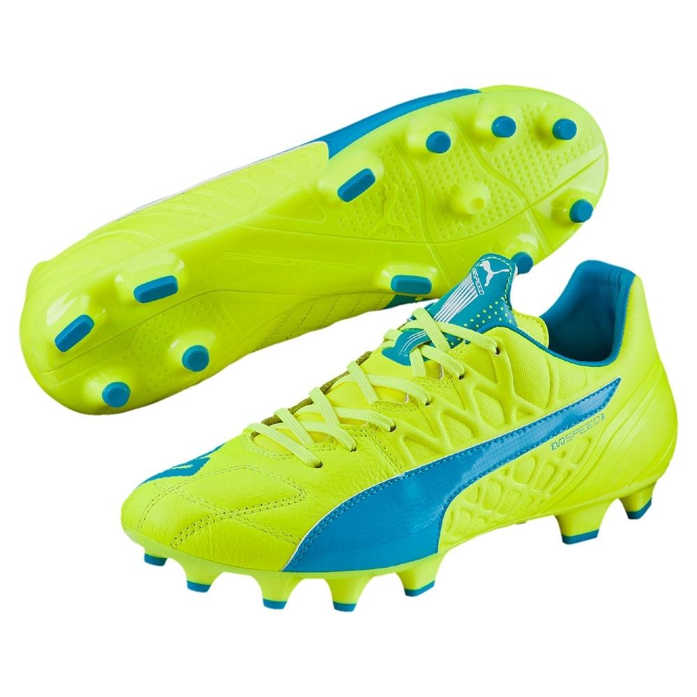 Puma evoSPEED 3.4 Lth FG Fußballschuhe Nocken gelb blau