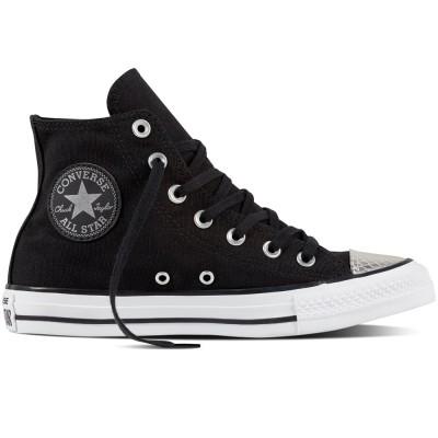 Converse Chuck Taylor All Star Metallic Toecap high Damen Sneaker schwarz silber