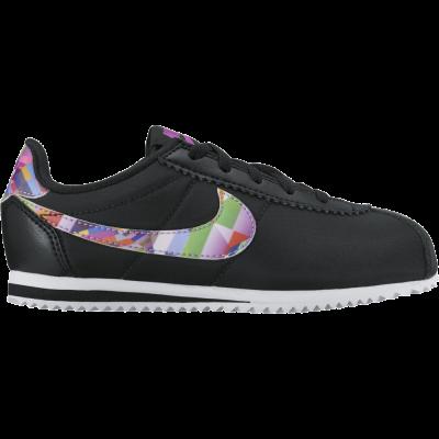 Nike Cortez Nylon Print PS Kinder Sneaker Freizeitschuhe schwarz