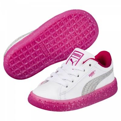 Puma Basket Iced Glitter 2 Sneaker Kleinkinderschuhe weiß pink