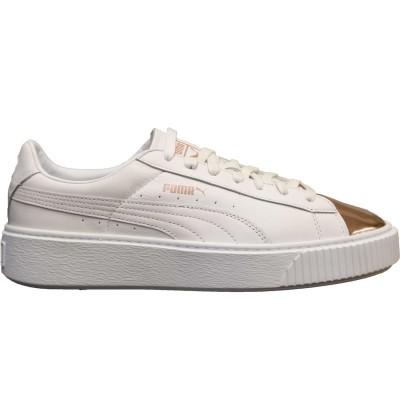 Puma Basket Platform Metallic Sneaker Damen Schuhe weiß rose gold
