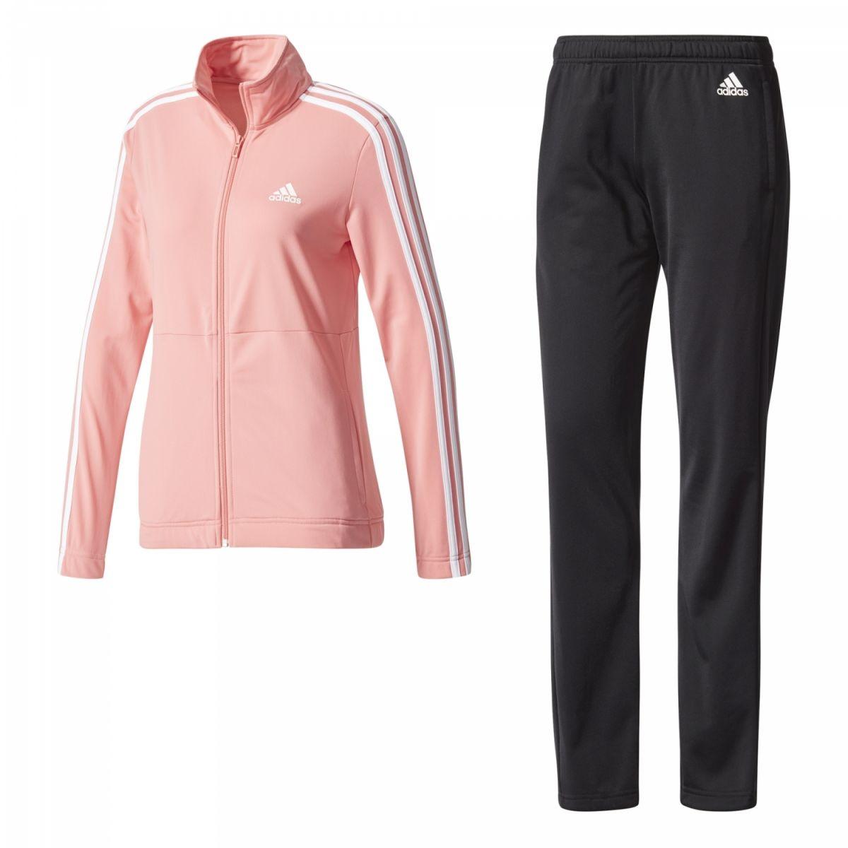 adidas Back 2 Basics 3-Streifen Trainingsanzug Damen rose weiß ... b03e2a1938