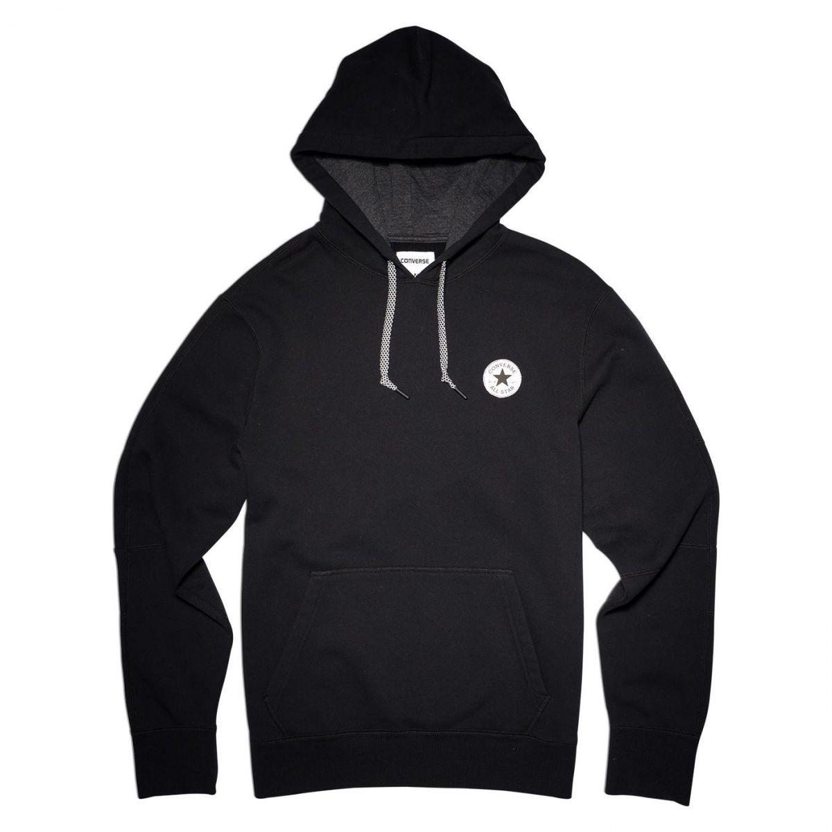 sport klingenmaier converse core reflective popover hoodie herren kapuzenpullover schwarz. Black Bedroom Furniture Sets. Home Design Ideas