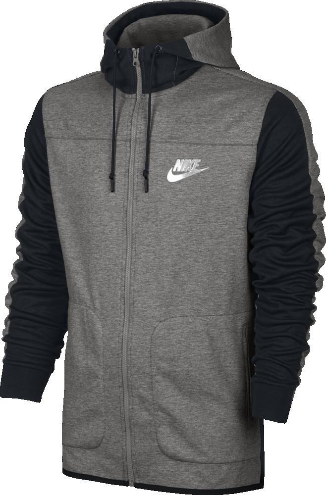nike full zip hoodie herren kapuzenjacke grau schwarz. Black Bedroom Furniture Sets. Home Design Ideas