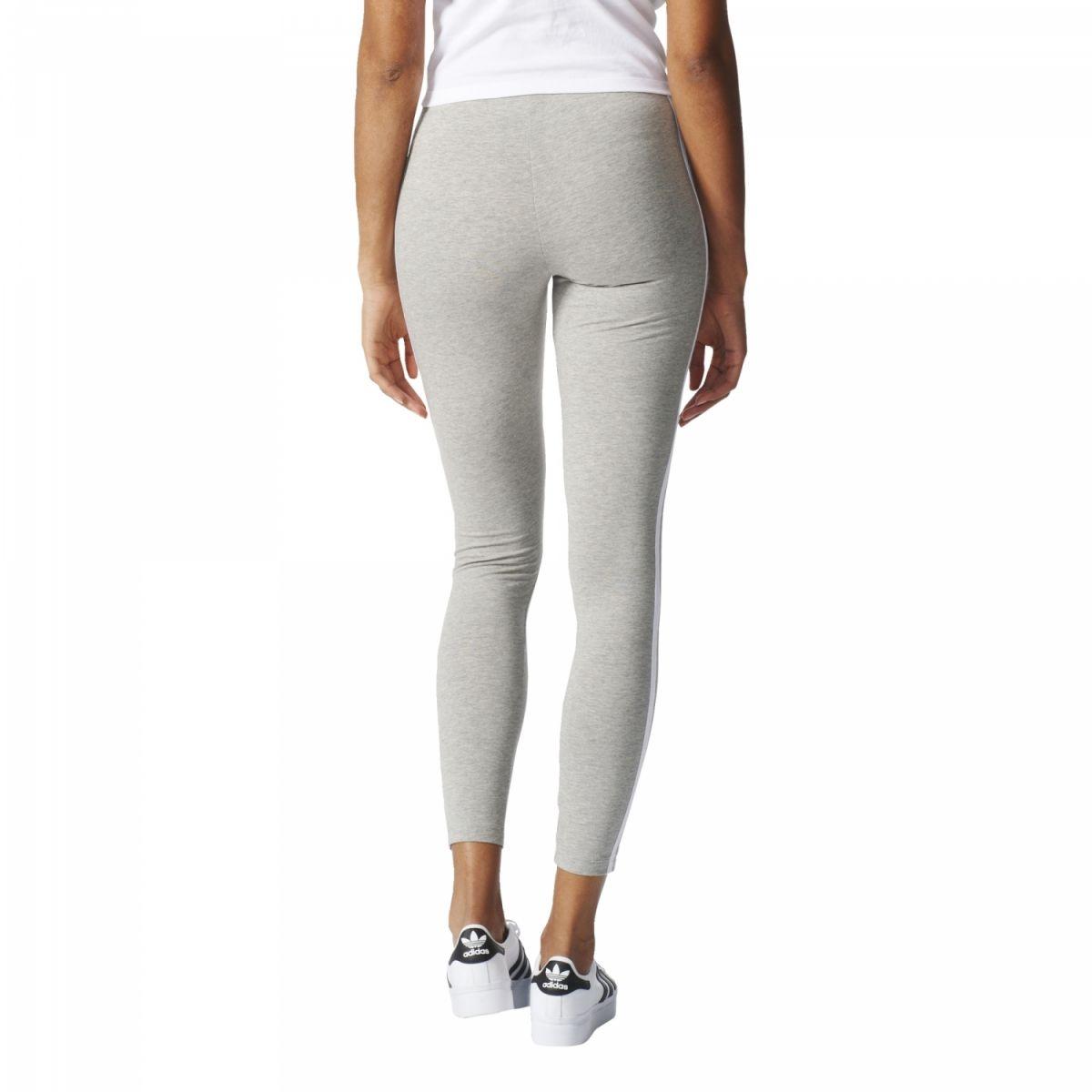 sport klingenmaier adidas originals 3 streifen leggings damen hose grau wei online kaufen. Black Bedroom Furniture Sets. Home Design Ideas