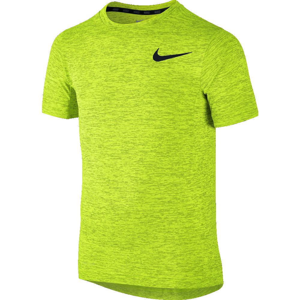 nike dri fit contour short sleeve herren t shirt running neongelb 683517 702 sport klingenmaier. Black Bedroom Furniture Sets. Home Design Ideas